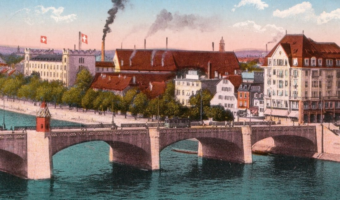 Basilea in una cartolina di inizio Novecento